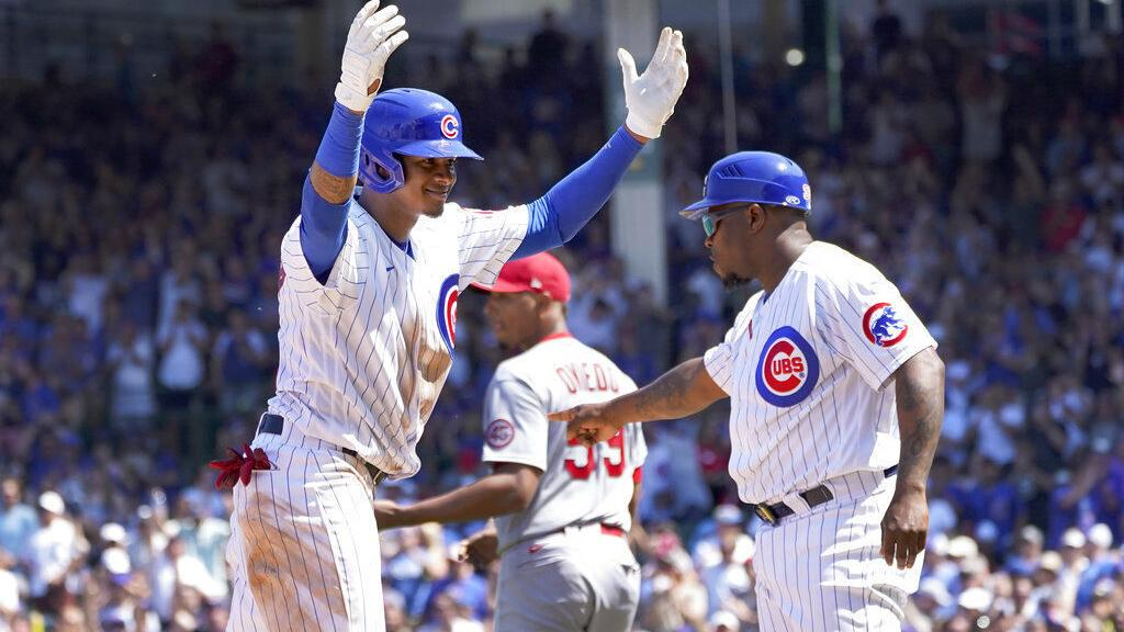 Full house, Cards fall: Cubs capitalize on misplays to erase four-run deficit, upend rivals, 8-5