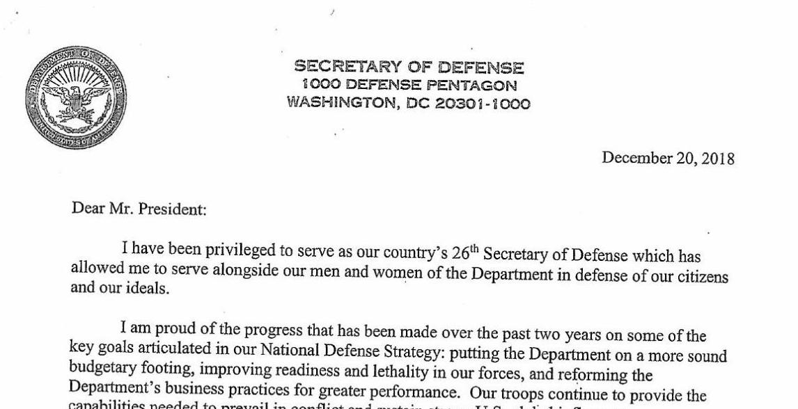 Read resignation letter from Defense Secretary Jim Mattis | National ...