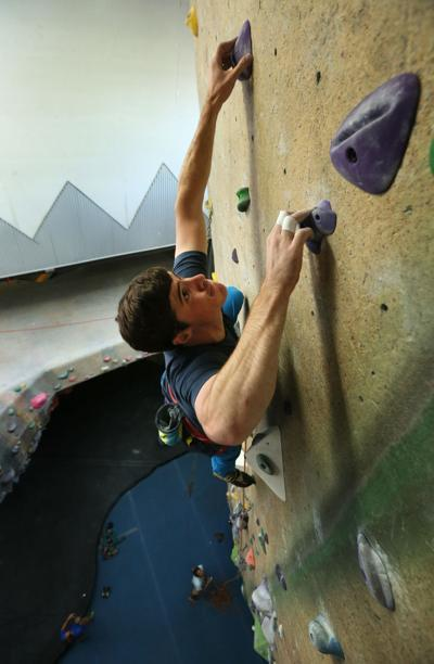 Free climbing at Upper Limits Rock Gym