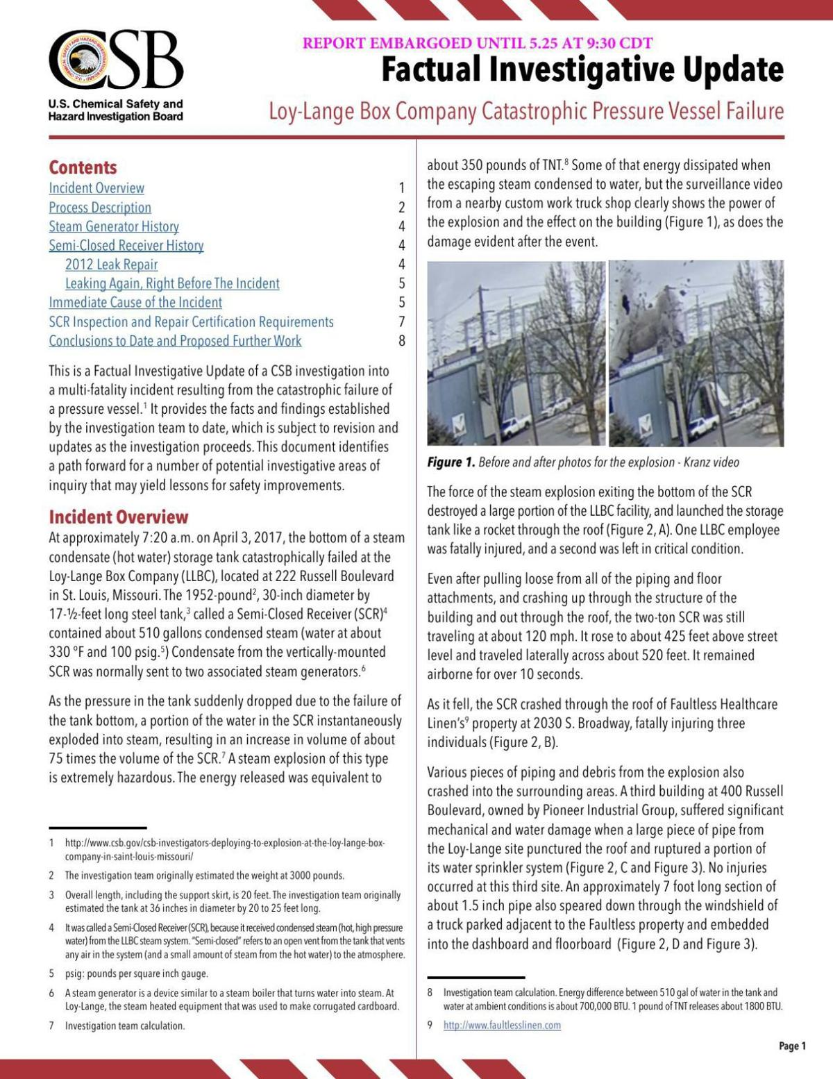 Read the investigative update from the U.S. Chemical Safety and Hazard Investigation Board
