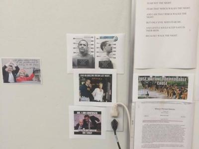 Images posted on wall in Gasconade County sheriff's office