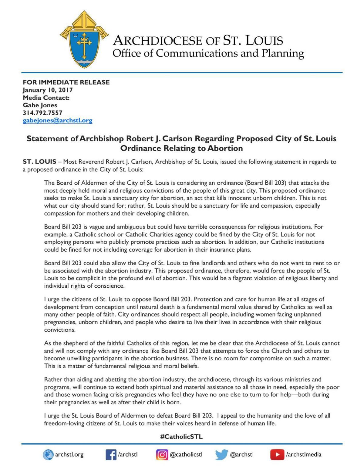 Archbishop Carlson opposes aldermanic bill related to