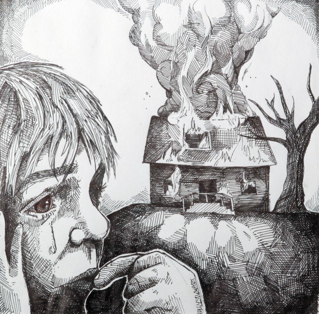 This is a photo of Dashing Burning House Drawing