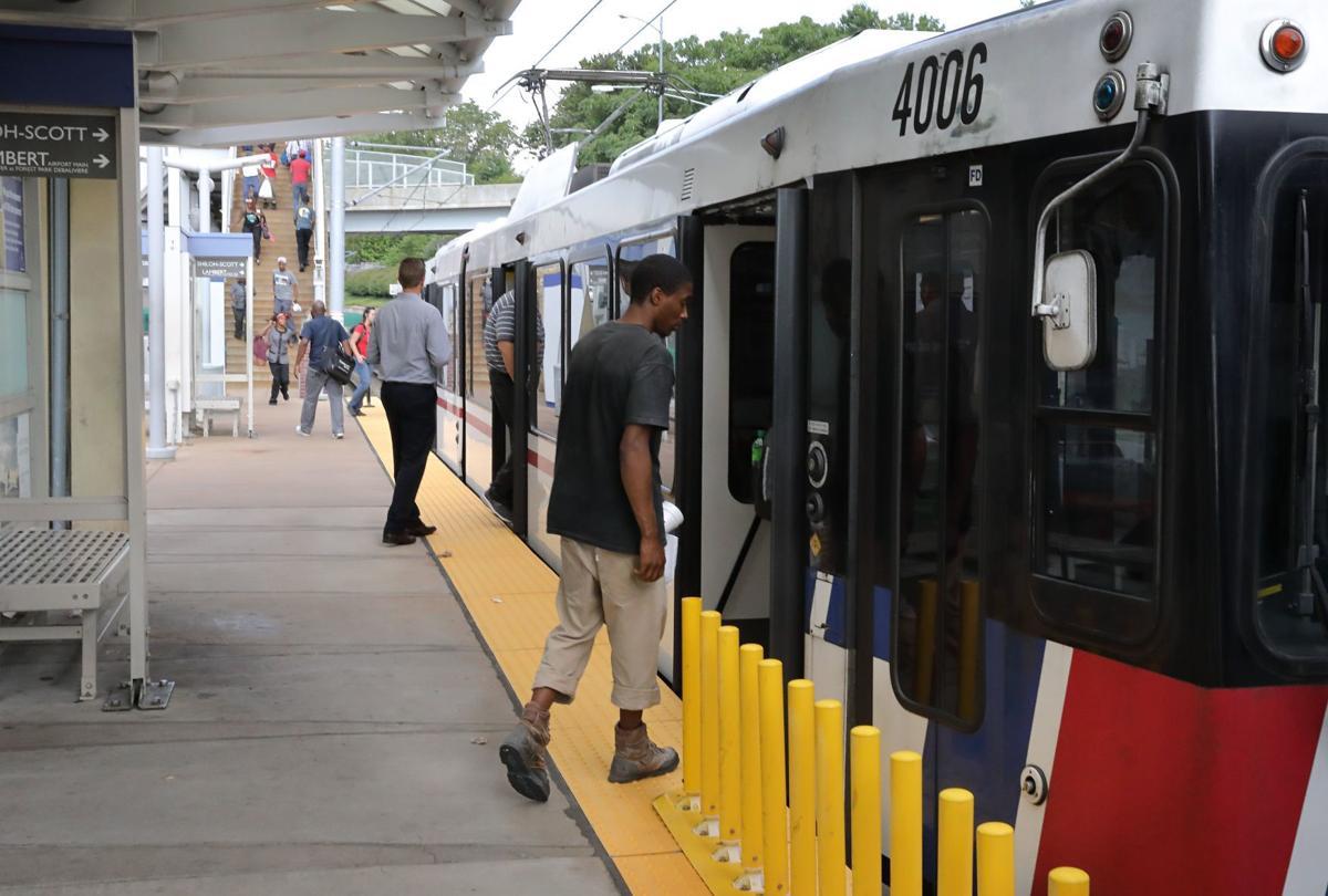 Boarding a MetroLink train