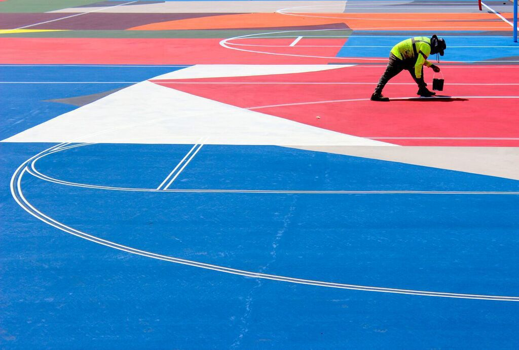 Painting the ground at Kinloch Courts