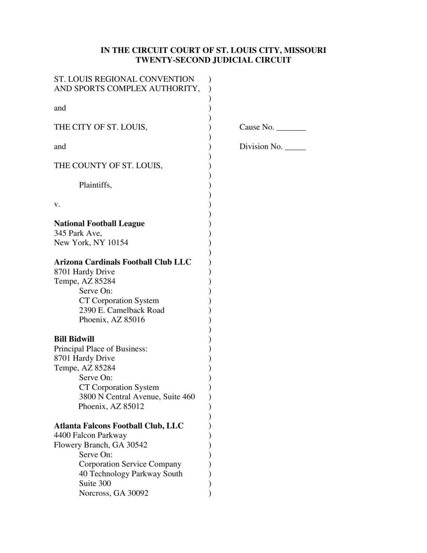 PDF: St. Louis, St. Louis County lawsuit filed against NFL