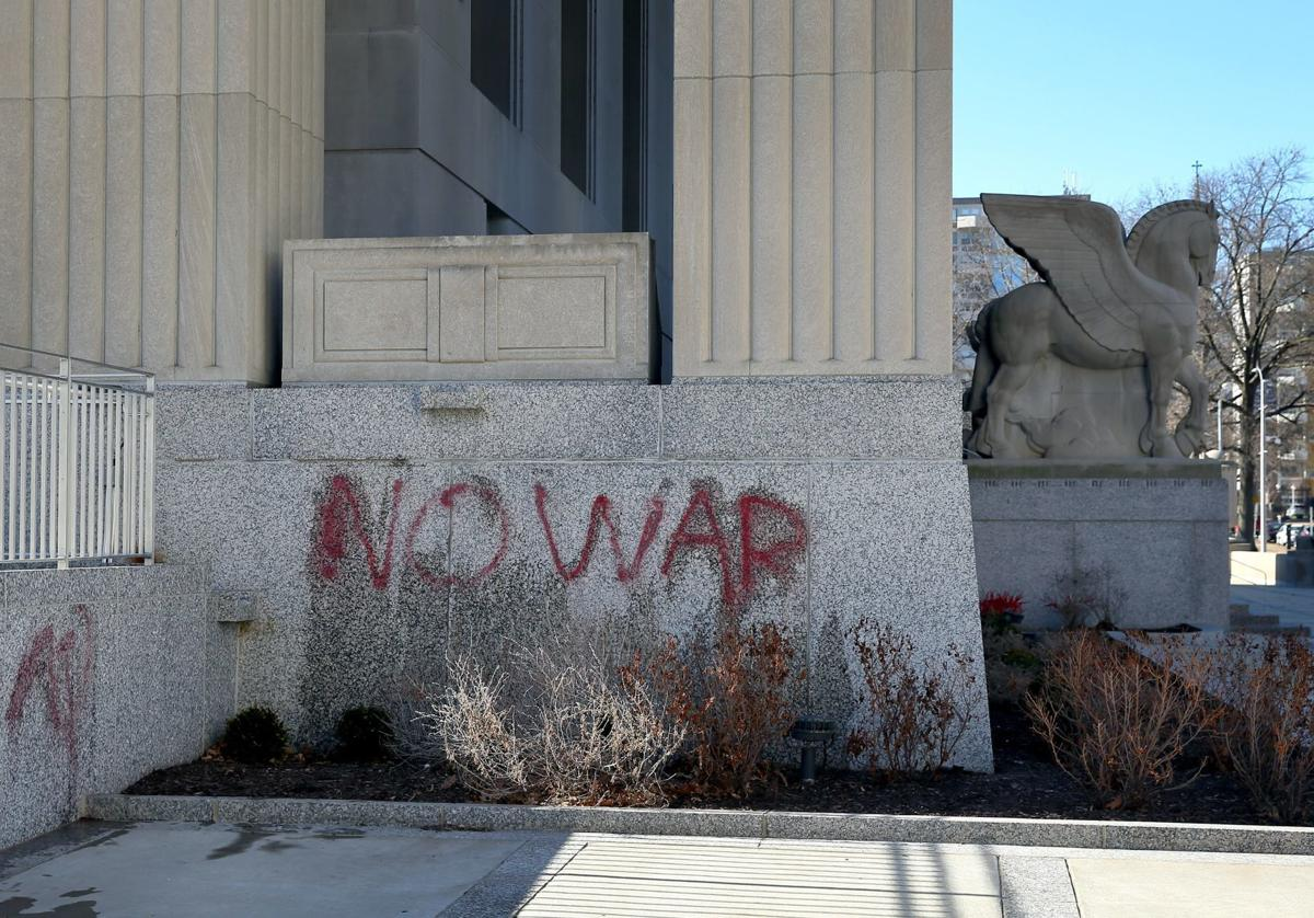 Graffiti on Soldiers Memorial in St. Louis
