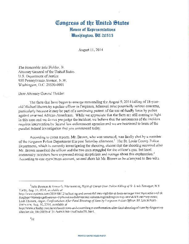 Letter to Justice Department from Clay and others
