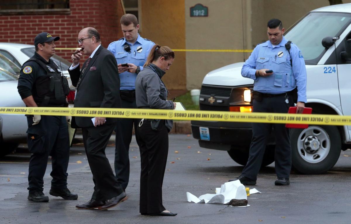 St. Louis police work a crime scene
