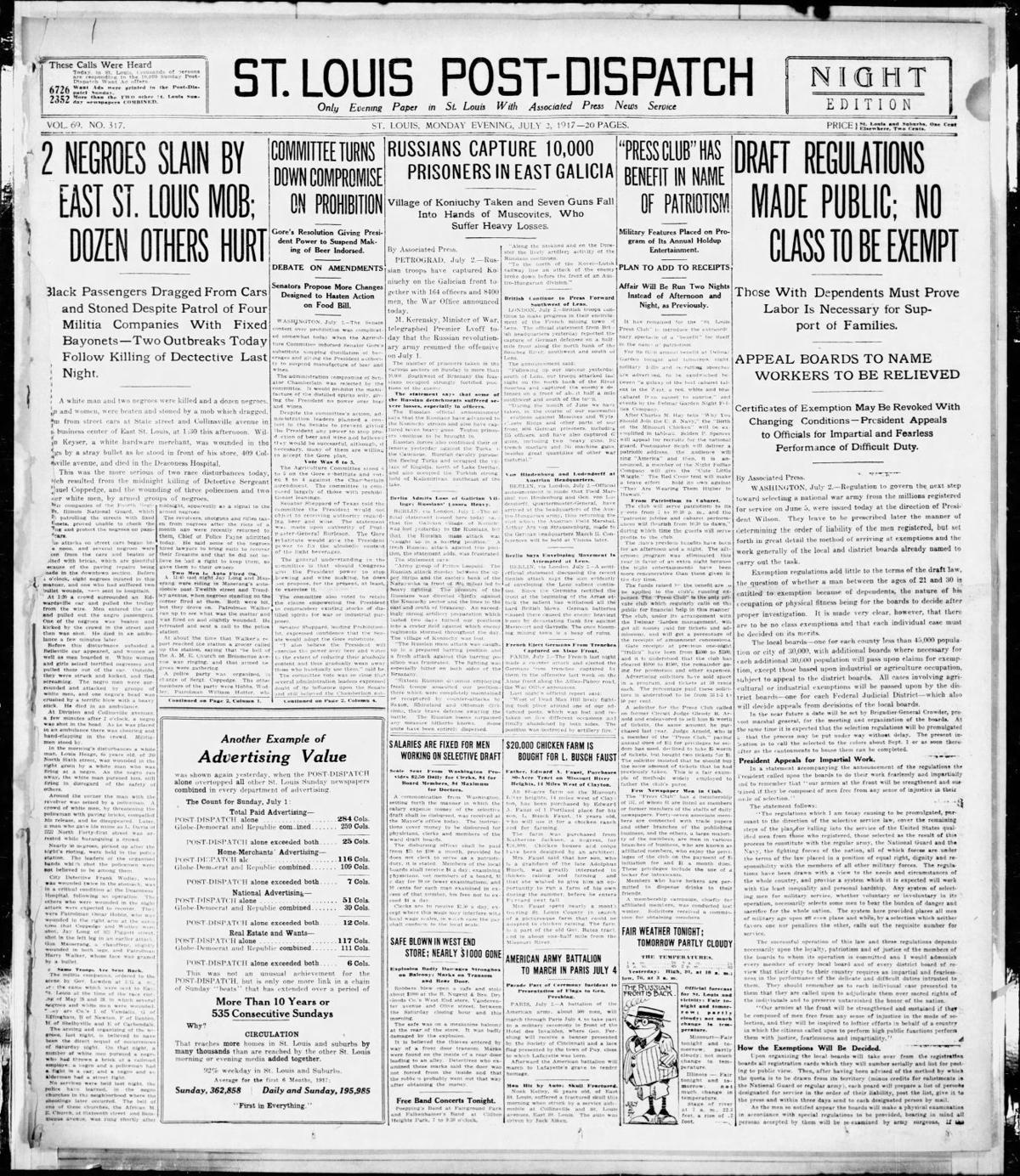 July 2, 1917 - 2 Black people Slain by East St. Louis mob