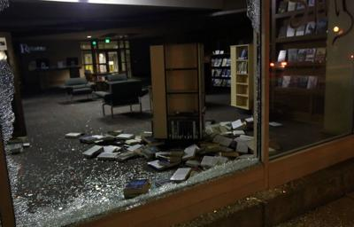 Broken windows in the St. Louis Public Library's Schlafly branch in Central West End