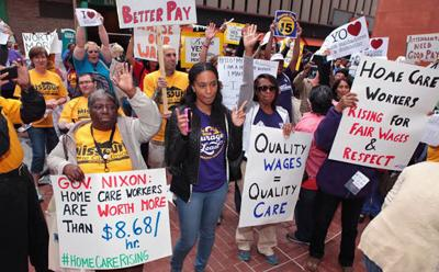 Home health care workers rally