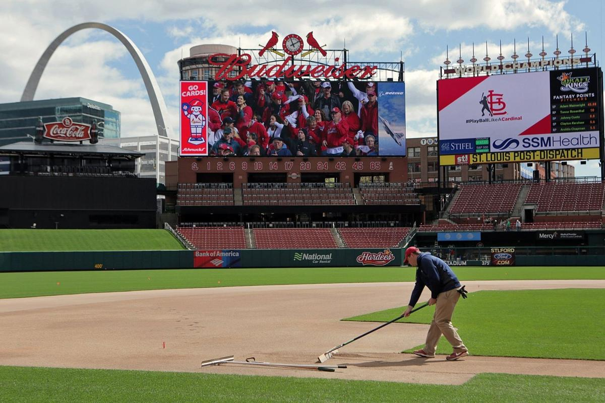 Getting ready for the Cardinals' home opener at Busch Stadium