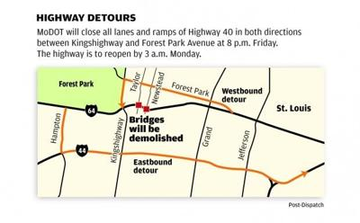 Highway 40 detours map