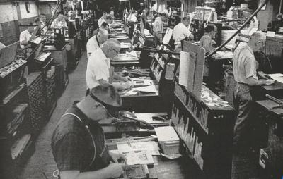 Composing room of the Post-Dispatch