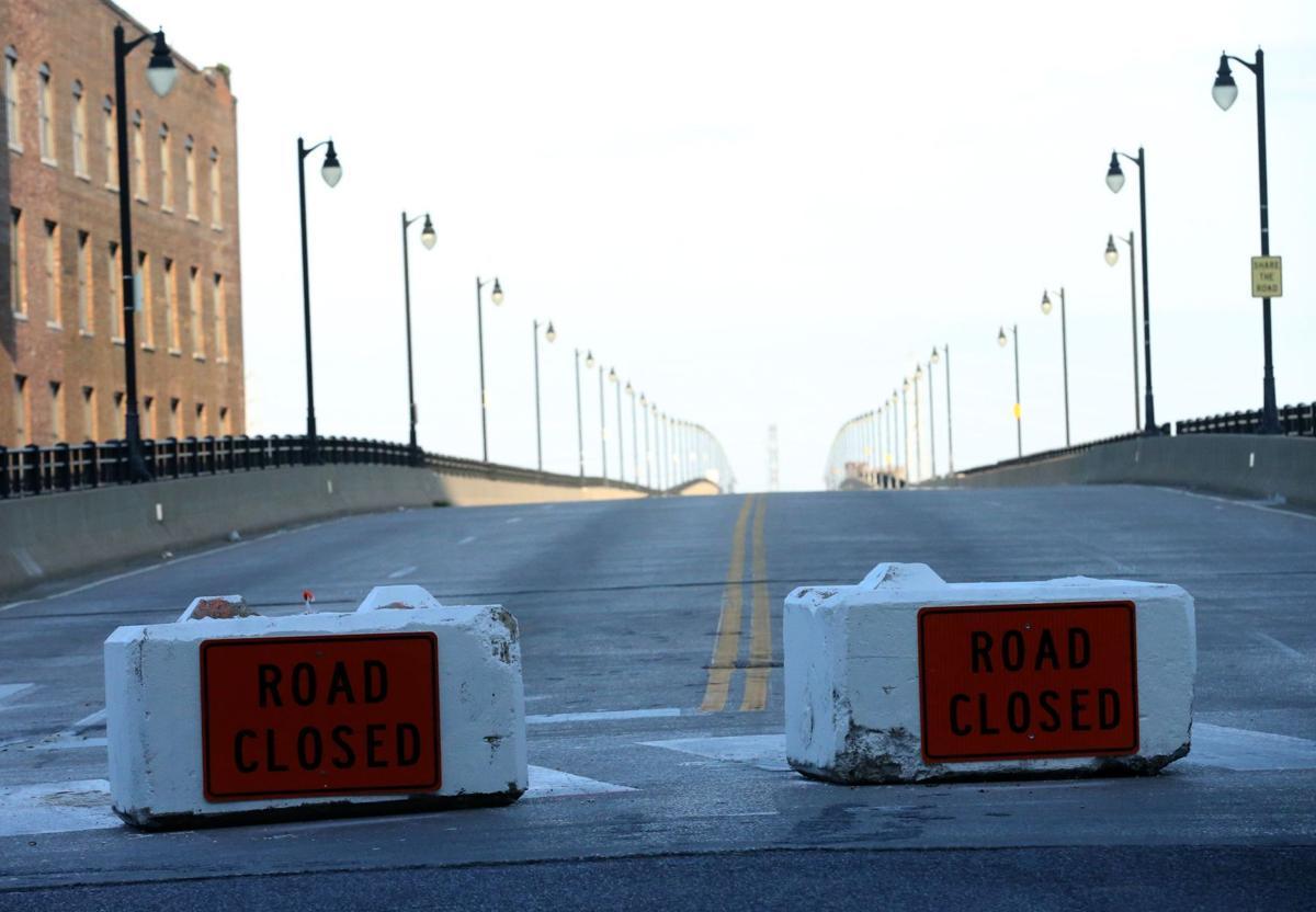 Concrete barriers close off vehicular traffic on Eads Bridge