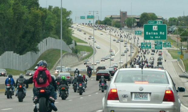 gang of motorcycles on Highway 40