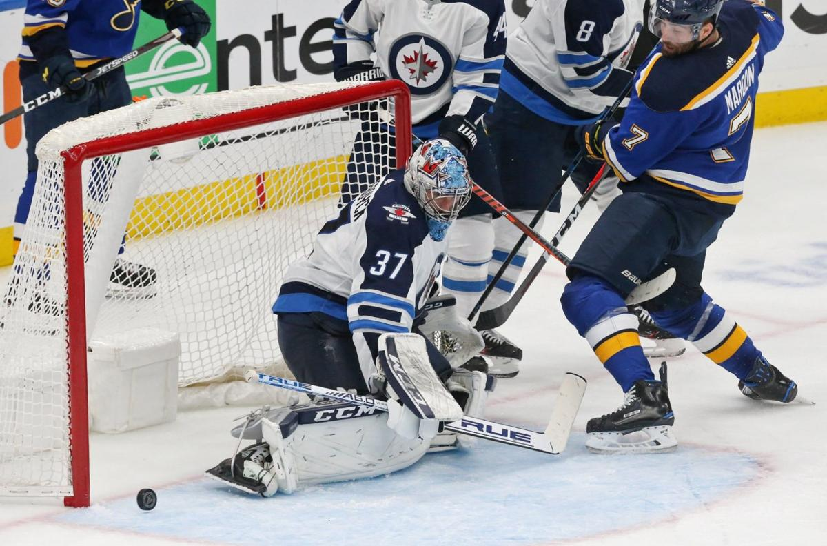 Blues in a hole early as Winnipeg takes 2-0 lead after one period