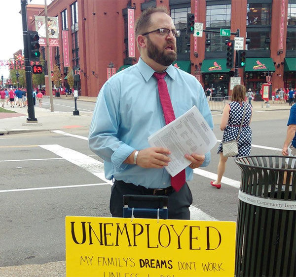 after handing out his resume at busch stadium unemployed man still