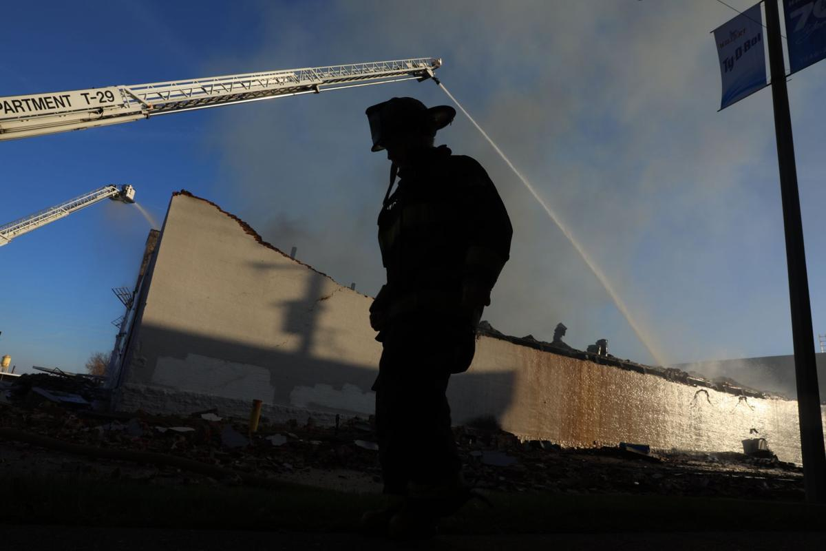 Warehouse fire second day