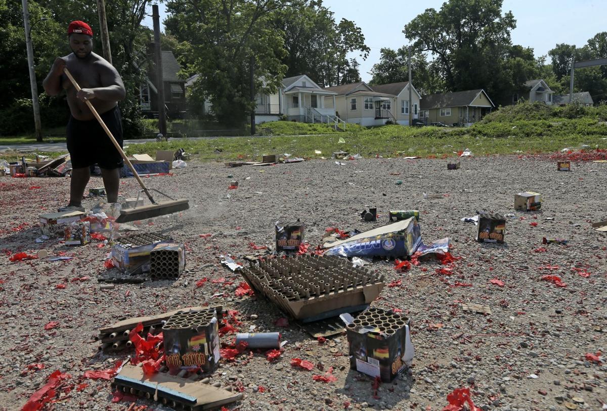 Cleaning up fireworks debris