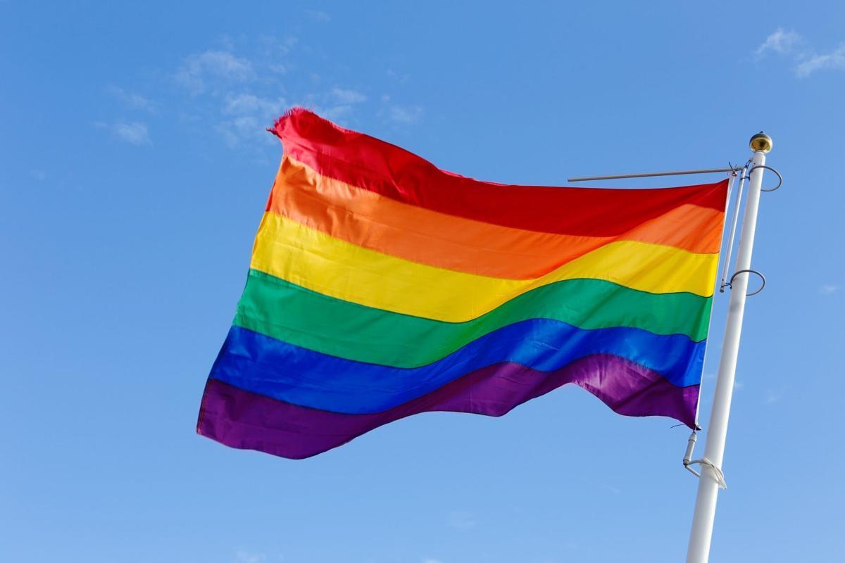Rainbow flag in the wind
