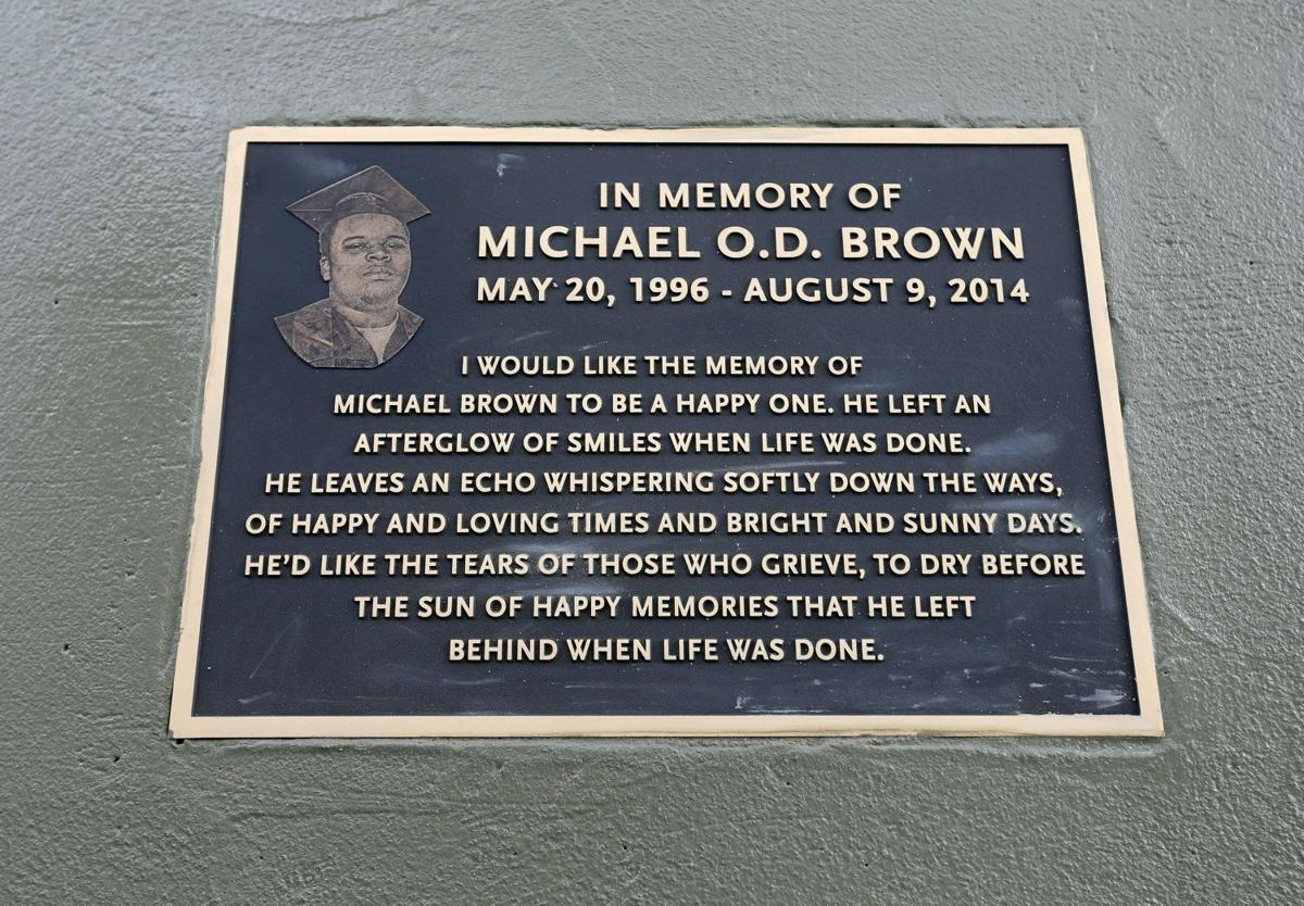 Bronze plaque on Canfield Drive in memory of Michael Brown Jr.
