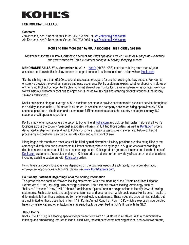 download pdf kohls release