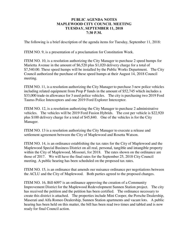 Maplewood City Council Agenda 9-11-18 Revised nuisance ordinance