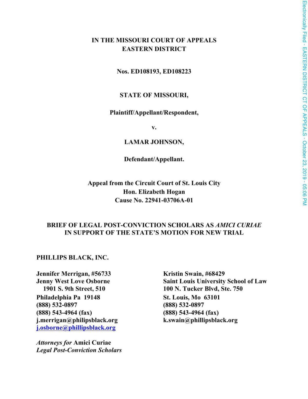 Post-Conviction scholars brief Lamar Johnson