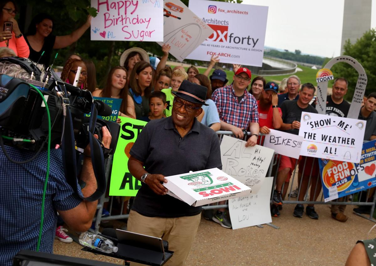 Al Roker broadcasts from the Gateway Arch