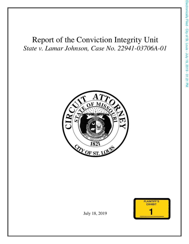 Conviction Integrity Unit report on Lamar Johnson case