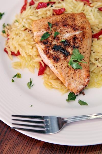 Salmon with Orzo & Sun-Dried Tomatoes from Bartolino's South