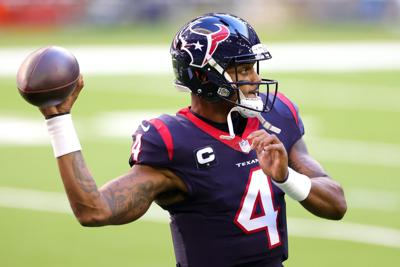 Deshaun Watson #4 of the Houston Texans in action against the Tennessee Titans during a game at NRG Stadium on Jan. 3, 2021 in Houston, Texas.