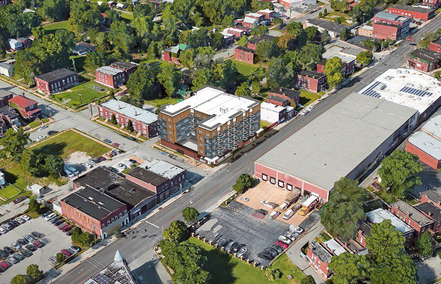 Aerial rendering of Gateway Lofts