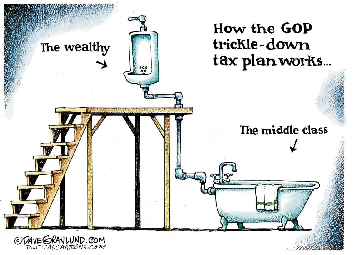 Image result for trickle down economy cartoons