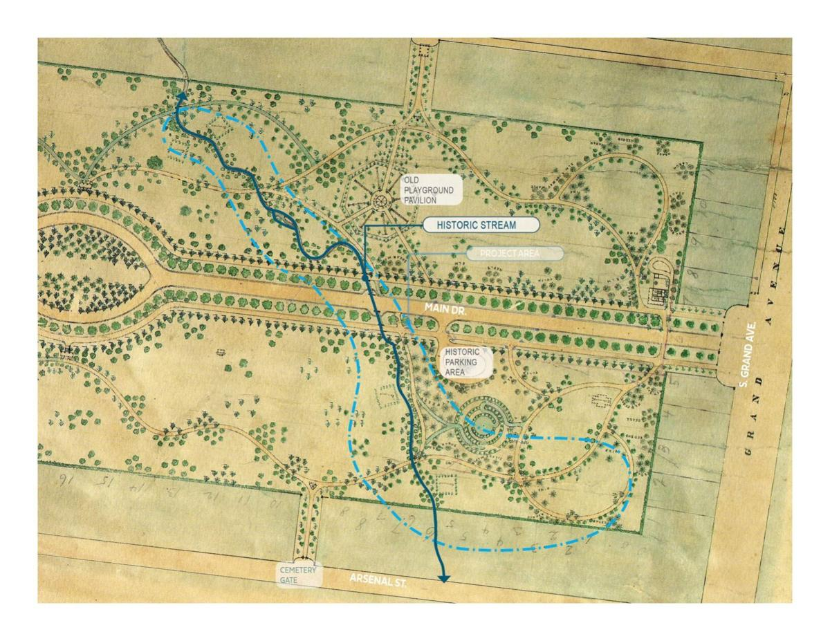 Historic map of Tower Grove Park