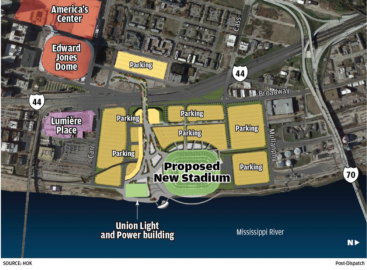 Map: St. Louis stadium proposal