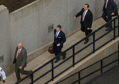 Missouri Gov. Eric Greitens arrives at court in St. Louis