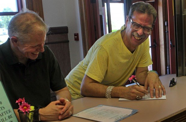 Ken Lamos and Roger Shope get hitched in Keokuk Iowa