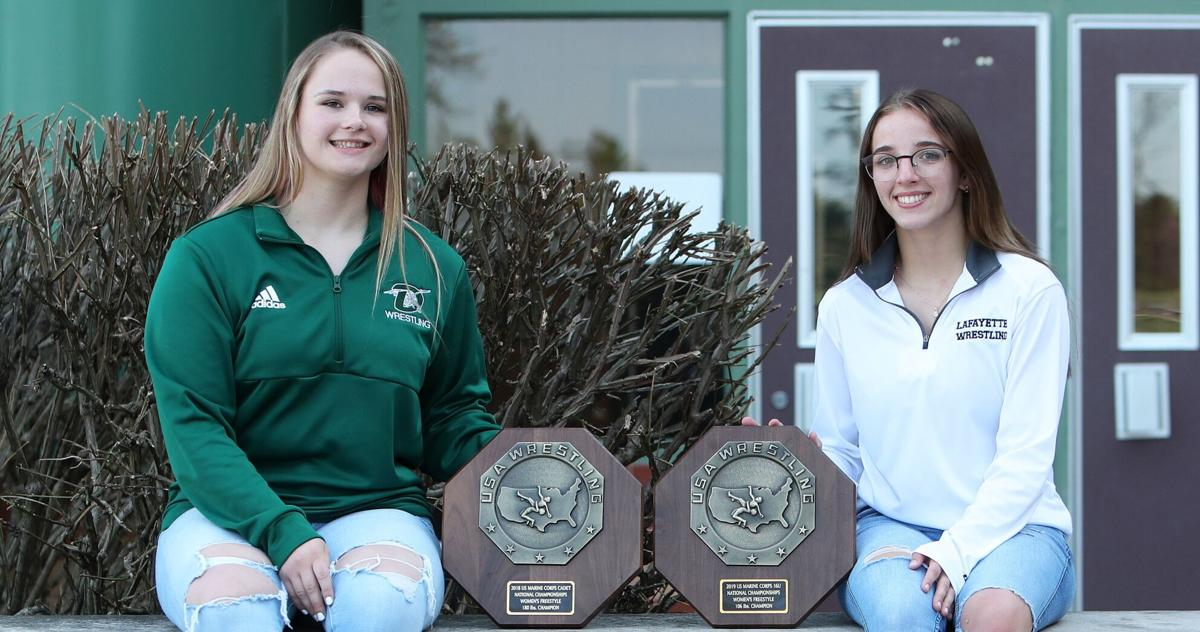 Jaycee Foeller and Faith Cole, 2021 co-girls wrestlers of the year