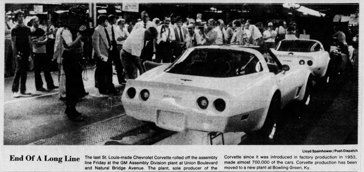 For 28 years, the old GM plant at Natural Bridge Avenue and Union Boulevard was the sole manufacturer of Chevrolet Corvettes. In 1981, the Corvette production line was moved to Bowling Green, Ky.
