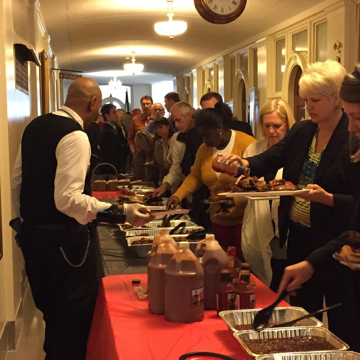 Capitol workers line up for BBQ