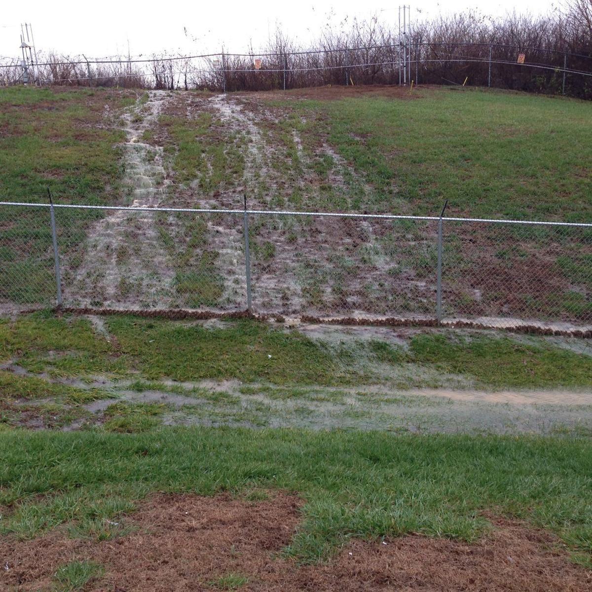 Storm water runoff at radioactive landfill