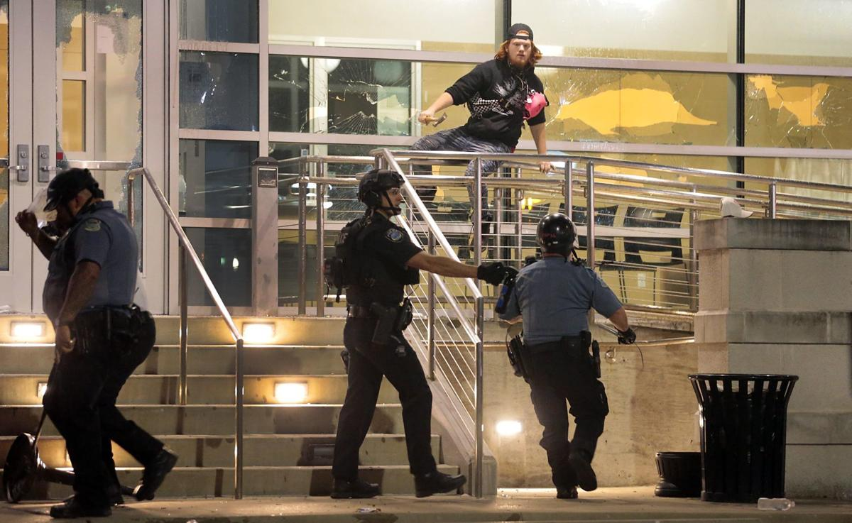 Protest returns to Ferguson to mark George Floyd death