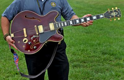 Picture of Chuck Berry's 1978 Gibson ES 355 guitar to his property at Berry Park