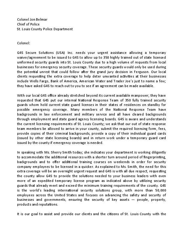 Letter from G4S Secure Solutions Inc.
