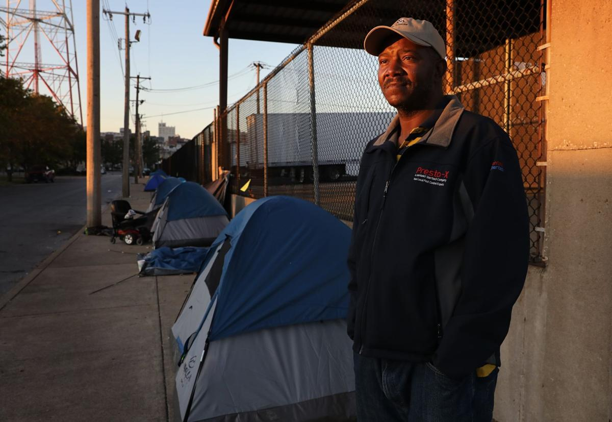 Homeless tents on sidewalk