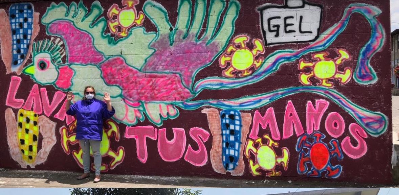 Katherine Bernhardt's mural in Guatemala