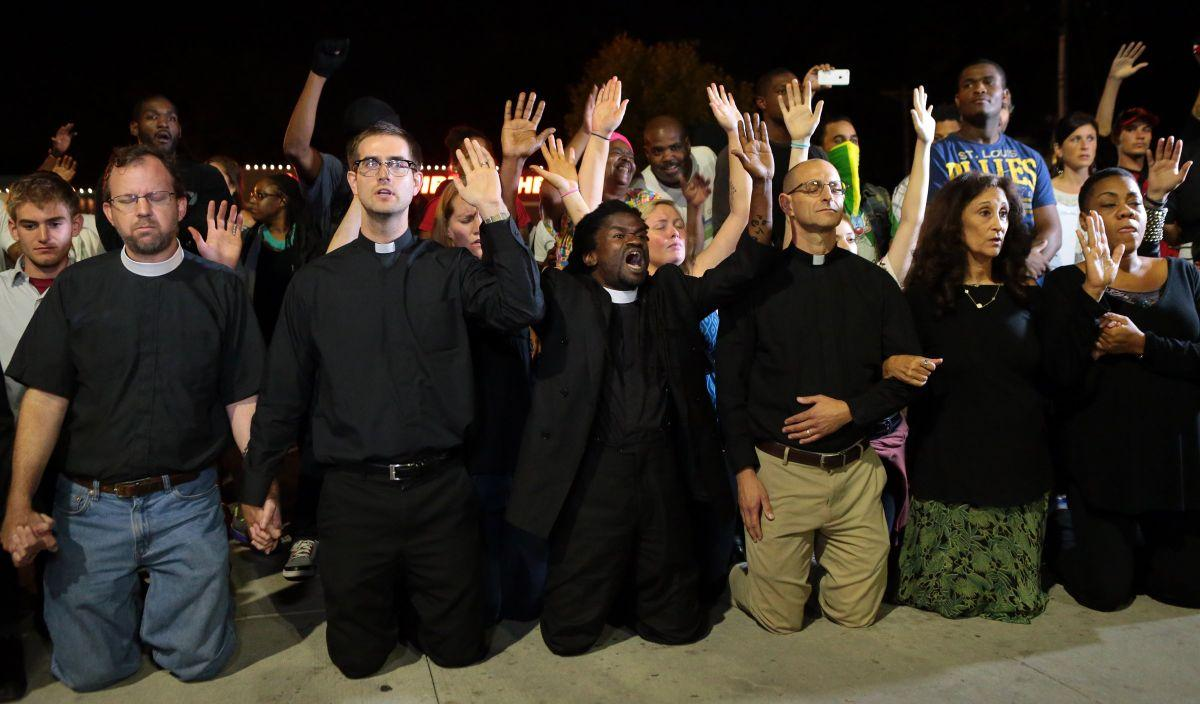 Clergy joins Ferguson protesters